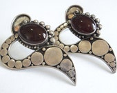 Large Sterling & Garnet Earrings... c.1990s Stylised Hearts