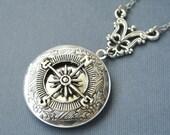 Compass Locket, Compass Silver Locket, Compass Photo Locket, Compass Round Locket, Steampunk Locket