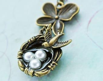Bird Nest Necklace, Bird Nest Pendant Necklace,Orchid Flower Necklace, Sparrow Necklace