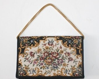 50% OFF SALE Vintage Tapestry Purse . Walbaeg Small Black and Floral Tapestry Party Purse . 1960s 70s Evening Bag