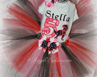 Girls Birthday 3 Piece Glitter TREX Dinosaur Tutu Outfit Pink, Red & Black INCLUDES TuTu, Hairpiece and Top Choose Size, Number, Colors