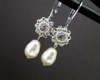 ivory pearl swarovski bridal earrings wedding pearl earrings bridal rhinestone earrings swarovski crystal earrings stud earrings JENNA