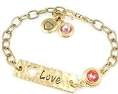 Valentine's Day Jewelry Gift for Women Gold Bracelet Gold and Pink Jewelry Custom Personalized Chain Bracelet Charm Bracelet Plus Size
