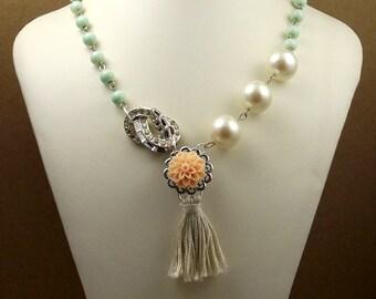 Tassel Beaded Long Asymmetric Necklace, Beaded Mint Green, Peach, Pearls