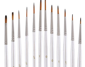 Detail paint brush 12 Pieces Art Fine Paint Brushes Set in White handle for Acrylic, watercolor, Oil & Face Painting, New Paint Brush Set