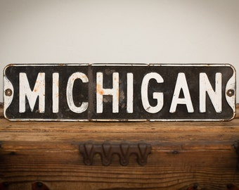 "MICHIGAN Metal Street Road Sign, 24"" x 6"", Rustic Hand Painted, Vintage 60s-70s"