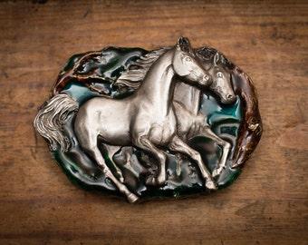 Vintage 80s Galloping Horses Belt Buckle, Bergamot Brass Works, C-146