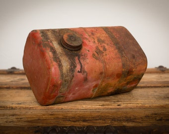 """Vintage 10.5"""" Red Metal Lawnmower Gas Tank, Industrial Chic Home Decor"""