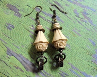 Ivory and Brass Earrings (2577)