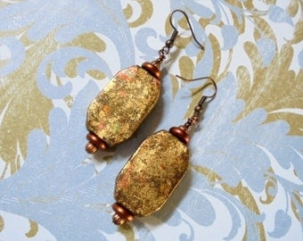Copper, Gold and Brown Faux Stone Beads (2585)