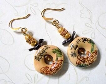 Beige, Brown, Black, Green and Gold Oriental Earrings (2678)