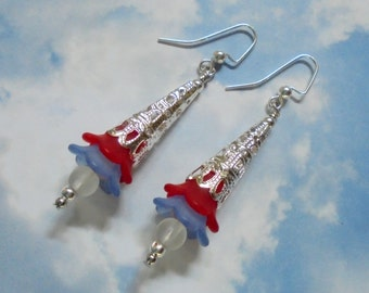 Red, White and Blue Patriotic Flower Earrings (2848)