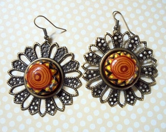 Ethnic Inspired Sunburst Earrings (2343)
