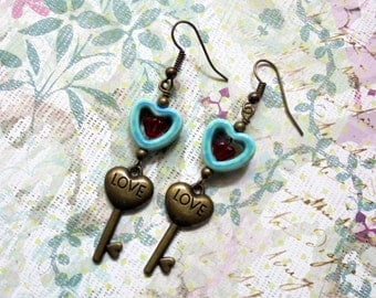 Teal and Red Heart and Key Earrings (2257)