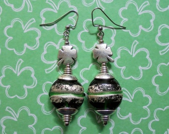 Green and Silver St Patrick's Day Earrings (2502)