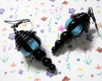 Black and Aqua Striped Lampwork Earrings (2548)