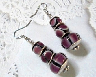 Purple, Black and White Lampwork Earrings (2553)