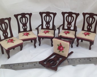 Dolls House Miniatures - Hand Stitched s/6 dining chairs - NEW AUTUMN 2015