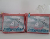 "HE.art by CC Sailboat Zippered Pouch, ""Tell Your Fears to Stay Home...and Take Your Dreams on an Adventure."""