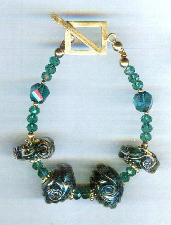 Celine Dark Aqua Sea Opal Metallic Borosilicate Signature Design Whirlwind Lampwork One of a Kind Bracelet!