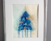 Original Watercolor painting 11x14   Tree abstract watercolor painting   Fine Art   royal blue, purple, mint, yellow, green, gold