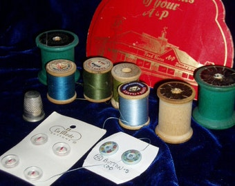 Vintage Sewing Supples Needle Pkg Wood Thread Spools Buttons Thimble