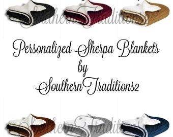 Personalized Sherpa Blanket - Monogram Sherpa Blanket - Monogrammed Sherpa Throw