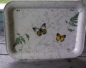 Vintage Metal Lap Tray with Butterflies TV Dinner tray or Bed tray Shabby Chic Country cottage