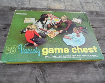 58 Variety Game Chest no. 1245.298 dated 1964 by Transogram Co NY games for whole family Pa-chiz-si word games more