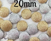 10- Glitter Buttons, Flat Back Glitter Buttons, Gold Buttons, Gold Bling, Silver Buttons, Silver Bling, You Choose Color