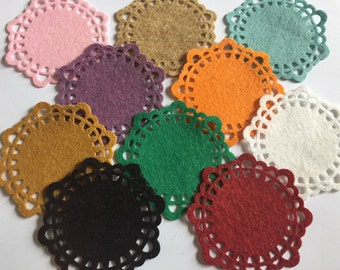 Wool Felt Doilies 10 total - Random Colored 3208