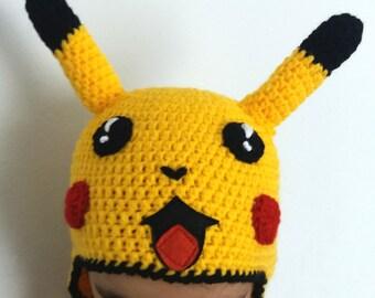 PIKACHU inspired crochet hat,pikachu costume,pokemon hat,kawaii clothing,halloween costume,adult hats,fun gifts,baby hats,toddler costume