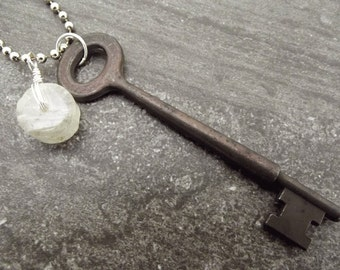 Skeleton key necklace, vintage key pendant, key jewelry