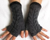 Fingerless Gloves Cabled Warm Wrist Warmers Grey  Dark Charcoal Fingerless Arm Warmers Women Winter Accessory