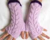 Ladies Fingerless Gloves Cabled  Warm  Wrist Warmers Lilac Violet Women Fingerless  Mittens