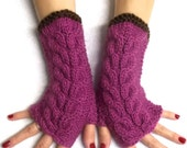 Hand Knitted Fingerless Gloves Cabled Warm Wrist Warmers Orchid Pink Brown Fingerless Mittens