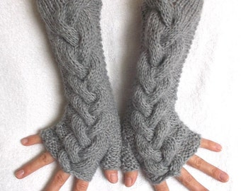 Fingerless Gloves  Wrist Warmers Grey Cabled, Extra Long and Soft and Warm in Alpaca Wool