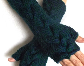 Arm Warmers  Long  Dark Blue Green / Teal Cabled  Fingerless Gloves
