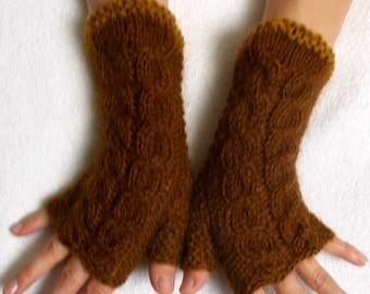 Mohair Fingerless Gloves Cabled Wrist Warmers in Dark Honey Brown Warm Soft Luxurious Women Accessory