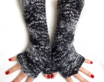 Hand Knit Fingerless Gloves Cabled  Arm Warmers in Black White Grey Warm Women Winter Accessory