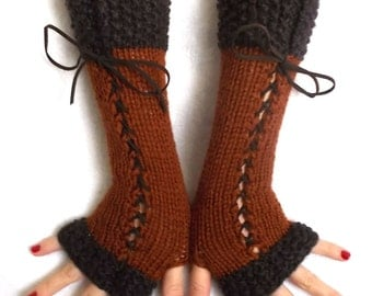 Knit Fingerless Gloves Long Wrist Warmers Copper Coffee Brown Corset Arm Warmers with Suede Ribbons Victorian Style