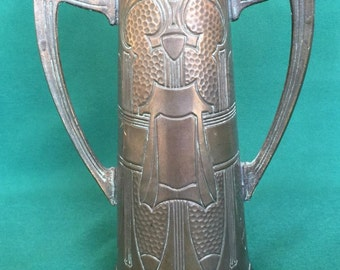 Antique Art Noveau Arts & Crafts Trophy Vase Double Handle Circa 1910 Craftsman Mission Roycroft Era