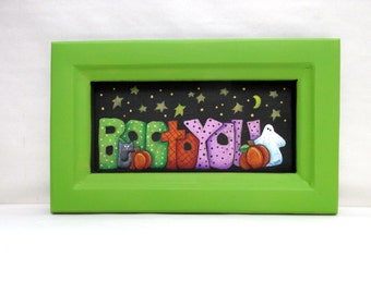 Boo to You Halloween Sign, Hand or Tole Painted, Black Cat, Orange Pumpkin, White Ghost, Hand Crafted Reclaimed Wood Frame, Halloween Art
