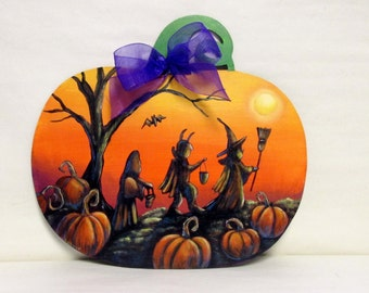 Pumpkin Shaped Halloween Themed Scene with Trick or Treaters, Silhouette Children, Pumpkin Shaped Wood Cutout, Hand Painted, Pumpkin Patch