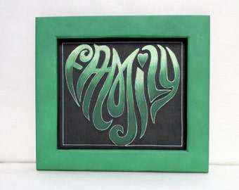 Heart Shaped Family Sign,  Green Wording, Tole or Hand Painted on Black Screen, Heart Sign, Reclaimed Wood, Hand Crafted Frame, Family