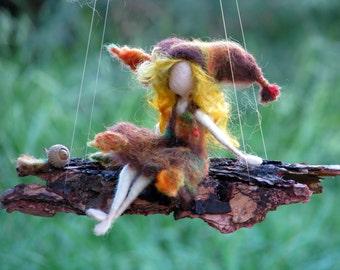 Needle felted mobile Waldorf inspired art doll fall fairy on bark