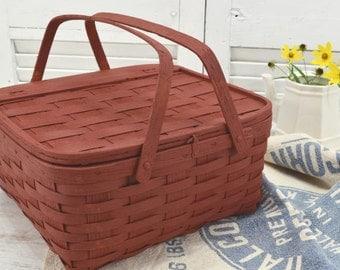 Primitive Pie Basket in Rustic Burgundy - painted picnic tote