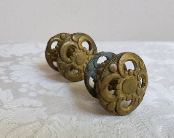 Vintage Brass Drawer Knobs Pulls Ornate Round Embossed Rosette Medallion Pair Set of 2 With Decorative Backplates, Bohemian Decor