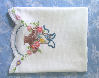 Vintage Embroidered Flower Basket Cotton Linen Huck Dish Kitchen Tea Towel