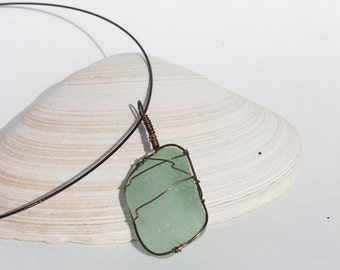 Large Aqua Rectangle Sea Glass Necklace Copper Pendant